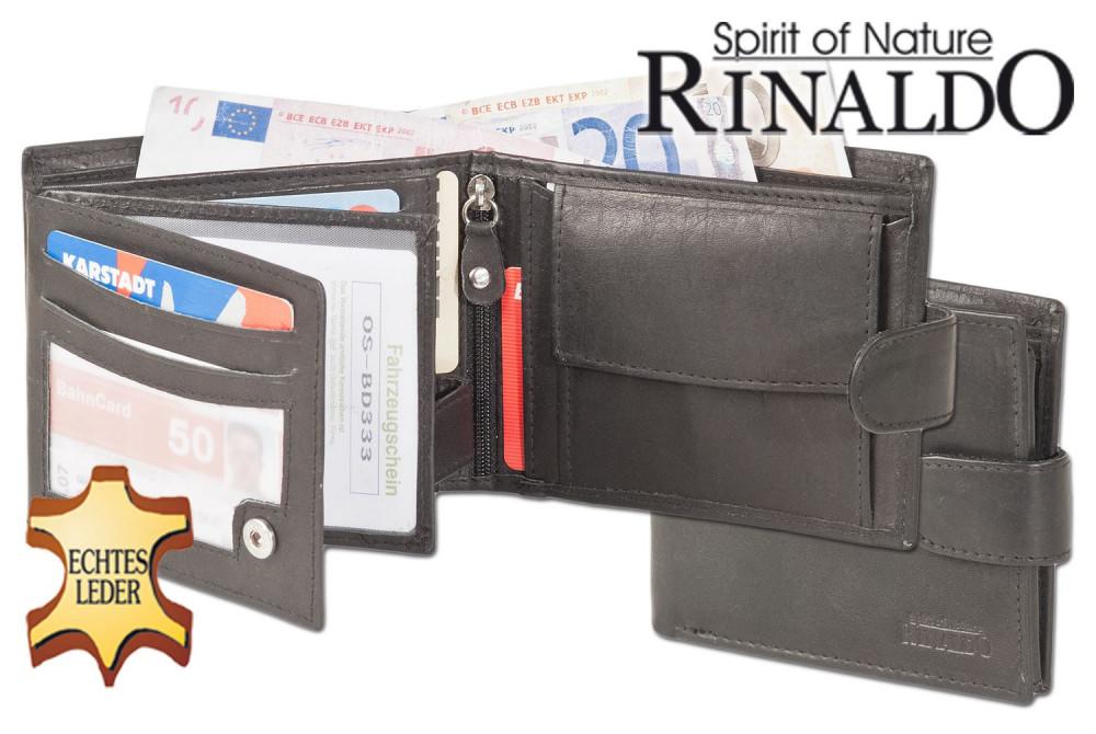 Rinaldo - Querformat-Geldbörse mit Innen- und Außenriegel aus glattem Rindsleder in Schwarz