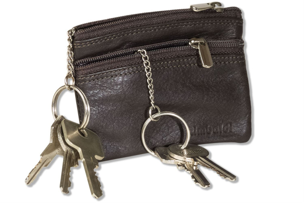 Rimbaldi - Doppel-Schlüsseltasche mit großem Extrafach für den Autoschlüssel aus weichem, naturbelassenem Rindsleder in Dunkelbraun