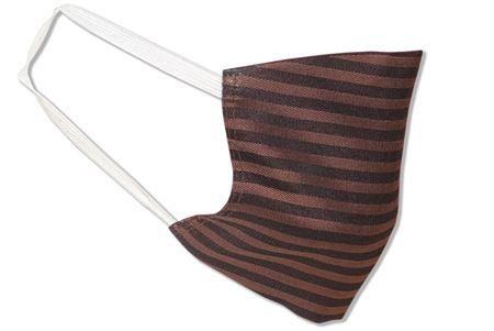 Komfort-Alltagsmaske aus hochwertigem Material und mit besonders elastischen Gummischlaufen - Design: Braune Streifen