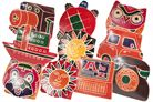 Hand-painted children's coin small leather with 10 different designs of genuine goatskin (Sort 2)