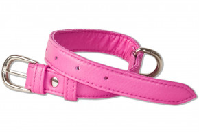 Rimbaldi® Full leather dog collar for small dogs with 25-35 cm neck circumference color Pink