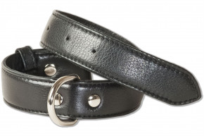 Rimbaldi® Full leather dog collar for medium-size dogs with 35-45 cm neck circumference in black