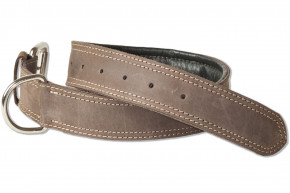 Woodland® Full buff-leather dog collar for medium-size dogs with 50-65 cm neck circumference in dark-brown/taupe