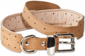 Woodland® Full buff-leather dog collar for medium-size dogs with 50-65 cm neck circumference in light brown