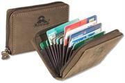 Woodland® XXL-Kreditkartenetui im Querformat mit dem Protecto® RFID/NFC-Blocker Schutz für 8 Kreditkarten aus Büffelleder in Dunkelbraun/Taupe