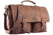 WILD WOODS® - Aktentasche Leder XL mit Laptopfach 15,6 Zoll große Ledertasche zum Umhängen aus Büffelleder in Braun/Vintage