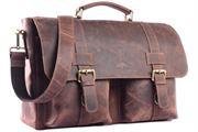 WILD WOODS® - Aktentasche Leder XL mit Laptopfach 15,6 Zoll große Ledertasche zum Umhängen aus Büffelleder in Dunkelbraun/Vintage
