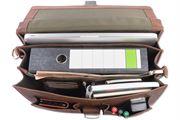 WILD WOODS - Aktentasche Leder XL mit Laptopfach 15,6 Zoll große Ledertasche zum Umhängen aus Büffelleder Dunkelbraun Vintage