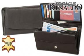 Rinaldo® Große Damengeldbörse aus Rindsleder in Schwarz, mit vielen Fächern und glatter Oberfläche