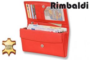 Rimbaldi® Mittelgroße Damengeldbörse mit vielen Fächern aus mit naturbelassen, weichem Rinderleder in Rot