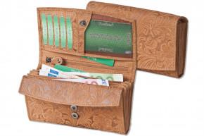 Woodland® Große Ledergeldbörse für Damen mit dem Protecto® RFID/NFC-Blocker Schutz aus Büffelleder in Hellbraun und mit Orchideen-Prägung