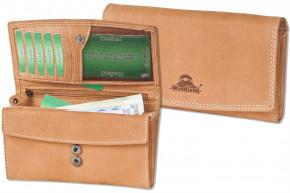 Woodland® Ledergeldbörse für Damen aus Büffelleder in mittelbraun naturbelassen und robust
