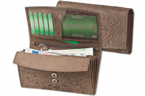 Woodland® Große Ledergeldbörse mit dem Protecto® RFID/NFC-Blocker Schutz für Damen aus Büffelleder in Dunkelbraun mit Orchideen-Prägung
