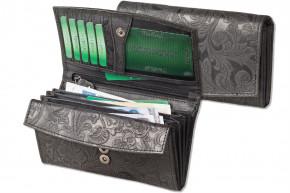 Woodland® Große Ledergeldbörse mit dem Protecto® RFID/NFC-Blocker Schutz aus Büffelleder in Anthrazit und mit Orchideen-Prägung