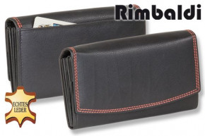 Rimbaldi® Damengeldbörse aus Rindsleder in Schwarz und Außen-Doppelnaht in Rot, mit vielen Fächern