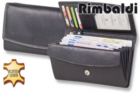 Rimbaldi® Great luxury women's wallet with many compartments, made from natural cow leather in black