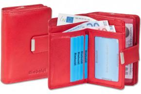 Rimbaldi® Kompakte Damengeldbörse mit dem Protecto® RFID-Blocker Schutz und naturbelassenem Rindsleder in Rot