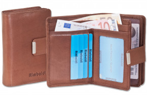 Rimbaldi® Compact Wallet with extra space from natural cow leather in brown