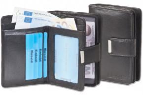 Rimbaldi® Kompakte Damengeldbörse mit dem Protecto® RFID/NFC-Blocker Schutz und naturbelassenem Rindsleder in Schwarz