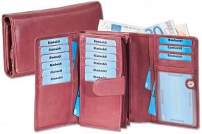 Rimbaldi® Damengeldbörse mit besonders viel Platz aus naturbelassenem Rindsleder in Kastanienbraun