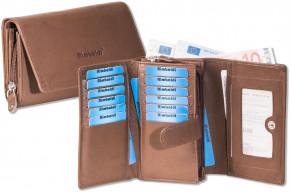 Rimbaldi® Damengeldbörse mit besonders viel Platz aus naturbelassenem Rindsleder in Braun