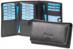 Rimbaldi® Wallet with extra space from natural cow leather in black