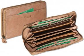 Woodland® Große Damen-Geldbörse aus weichem, naturbelassenem Büffelleder in Mittelbraun
