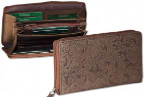 Woodland® Große Luxus-Damenbörse mit besonders vielen Kreditkartenfächer aus naturbelassenem Büffelleder in Braun und Blumenmusterprägung