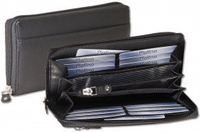 Platino - Large Wallet with circumferential zipper made from natural cow-leather in black
