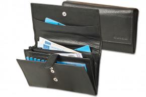 Rimbaldi® Große Luxus-Damengeldbörse mit viel Platz aus weichem, naturbelassenem Rindsleder in Schwarz