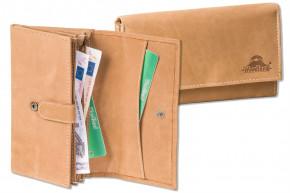 Woodland® - Große Luxus-Damengeldbörse mit viel Platz und Protecto® RFID/NFC-Blocker Schutz, aus weichen naturbelassenem Büffelleder in Cognac