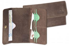 Woodland® Superflache Damenbörse aus hochwertigem, naturbelassenem Büffelleder in Dunkelbraun/Taupe