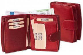 Rinaldo® Damen-Lederbörse mit sehr vielen Einsteckfächern aus weichem, naturbelassenem Rindsleder in Weinrot