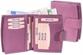 Rinaldo® Damen-Lederbörse mit Protecto® RFID-Blocker Schutz und sehr vielen Einsteckfächern aus weichem, naturbelassenem Rindsleder in Aubergine