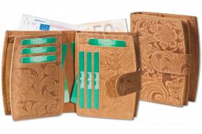 Woodland® Kompakte Luxus-Damenbörse mit Protecto® RFID-Blocker Schutz aus feinem Büffelleder in Hellbraun und mit Blumen-Muster