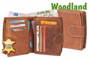 Woodland® - Kompakte Luxus-Damenbörse mit 18 Einsteckfächer/Kreditkartenfächer Naturbelassenes Büffelleder in Cognac