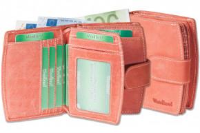Woodland® Kompakte Luxus-Damenbörse mit besonders vielen Kreditkartenfächer aus naturbelassenem Büffelleder in Rot