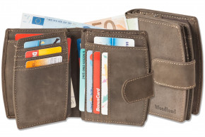 Woodland® Compact luxury women's wallet with lots of compartments for credit cards from natural buf