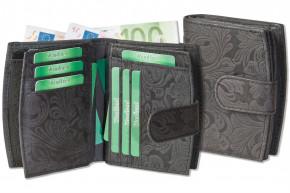 Woodland® Kompakte Damenbörse mit mit dem Protecto® RFID/NFC-Blocker Schutz aus naturbelassenem Büffelleder in Anthrazit und Orchideen-Prägung