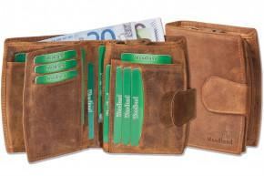 Woodland® - Kompakte Luxus-Damenbörse mit vielen Kreditkartenfächern aus ölgewaschenem Rinderleder im Vintage-Look/Cognac