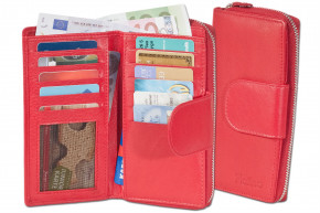 Platino - ladies wallet with large coin pocket and circumferential YKK metal zipper from finest cow