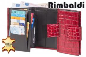 Rimbaldi - Damengeldbörse mit insgesamt 20 Einsteckfächer aus gutem Rinderleder im Krokodesign in Rot / Multiton