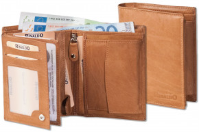 Rinaldo® Portrait wallet made from natural, smooth leather in cognac