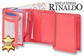 Rinaldo® Hochformat Riegelbörse aus naturbelassenem, glattem Rindsleder in Rot