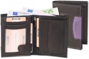 Rinaldo® Hochformat Riegelbörse mit dem Protecto®RFID-Blocker Schutz aus glattem,naturbelassenem Rindsleder in Schwarz mit Seitenstreifen in Aubergine