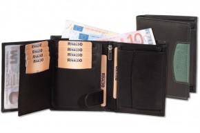 Rinaldo® Hochformat Riegelbörse aus glattem, naturbelassenem Rindsleder in Schwarz mir grünem Seitenstreifen
