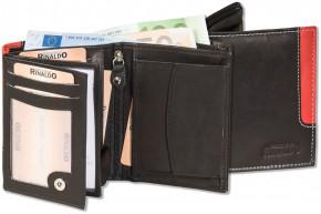 Rinaldo® Hochformat Riegelbörse aus glattem, naturbelassenem Rindsleder in Schwarz mit rotem Seitenstreifen