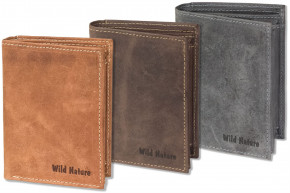 Wild Nature® Portrait bolt market in natural, soft buffalo leather in red-nature