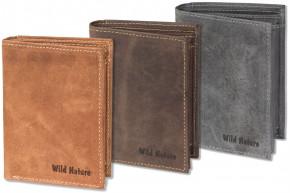 Wild Nature® Hochformat-Riegelbörse aus naturbelassenem, weichem Büffelleder