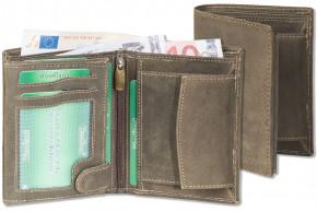 Woodland® Hochformat-Riegelbörse mit dem Protecto® RFID/NFC-Blocker Schutz aus naturbelassenem Büffelleder in Dunkelbraun/Taupe